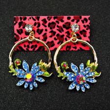 Betsey Johnson Enamel Flower Rhinestone Drop Earrings Women Fashion Jewelry