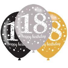 18. Geburtstag Luftballons Gold,Schwarz,Silber  Latexballon 6 St. Ø27,5 NEU