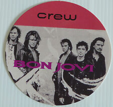BON JOVI - Circular Card CREW Backstage Tour Pass - Unknown Tour