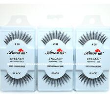 3 Pairs AmorUs 100% Human Hair False Eyelashes #38 compare Red Cherry