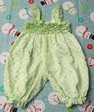 Bonnie Baby Infant Girl 6-9 Months Green Sparkly Ruffles Bubble Romper *Euc*