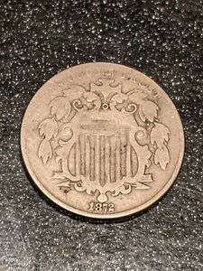 1872 Philadelphia Mint Silver Shield Nickel Ch FINE+