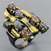 Black Opal Ring Silver 925 Sterling Fine Art Design Jewelry Size 7.25 /R137801