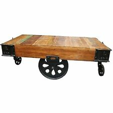 Lurco Industrial Coffee Table On Wheels