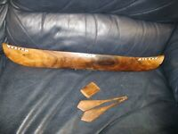 "Antique Wooden Canoe 21"" Long Folk Art Rustic Miniature In Laid Shell"