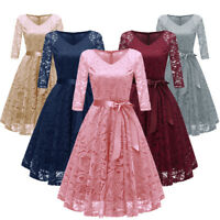 Vintage 50s Women A-Line V-neck Lace Dress Wedding Evening Party Prom Dresses