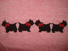 Vintage NOS 1980s SCOTTIE DOG RINGER T SHIRT Rayon Blend TRI Heather Pink 80s S