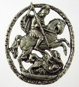 Vintage 800 Silver St George and the Dragon Pin Made in Italy Brooch 10.9 Grams