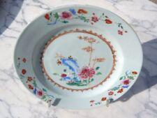 Assiette porcelaine chine compagnie des indes décor floral céladon 18ème