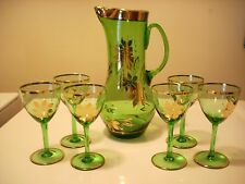 Vintage Emerald Green Glass Gold Leaves 6 Glasses & Pitcher
