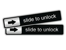 2x Slide To Unlock Vinyl Decals / Car Stickers Labels Laptop Notebook Door