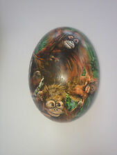 artist original Hand Painted orangatang design Decorated Ostrich Egg.