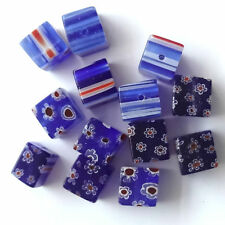 40 Sapphire Millefiori Glass 10MM Cube Beads Jewellery making