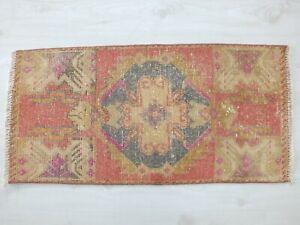 Door Mat 1.4x3.1,Old Turkish Rug,Vintage Rug,Bohemian Rug,Antique Rug,Floor Mat,