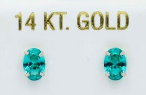 PARAIBA TOURMALINE 1.20 Cts STUD EARRINGS 14k White Gold* NEW WITH TAG *