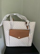 BNWT Michael Kors Pocket Tote Bag, Vanilla/Acorn