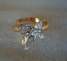 18KT HGE Yellow Gold Plated w/ Clear Crystals Women's Butterfly Ring size 6.25