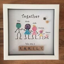 Personalised Box Frame Family Button Head Scrabble Christmas Buttons Gift