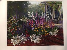"""Red Brick Garden"" By John Powell Signed Silk-Screen On Canvas Ltd. Ed. w/COA"