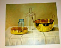 Realist Still Life Oil Painting Bottles Brass After Andras Gombar Kitchen Art
