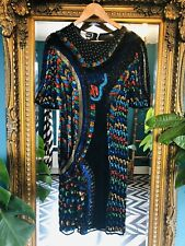 Vintage Black 100% Silk Heavily Beaded Embellished Sequin Dress Size Small