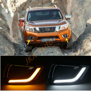 For Nissan Navara NP300 2015-2018 Pair White/Amber j LED DRL Turn Signal Light
