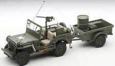 Autoart 74016 - 1/18 Willys Jeep With Trailer/Accessories - U.S. Army - Neu