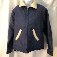 Mens Japanese Utility Zipper Denim Jacket Shearling Fleece Jean Winter Coat L