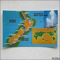 New Zealand Tourist Map Postcard (P591)