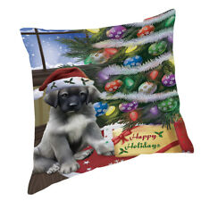 Christmas Anatolian Shepherds Dog with Presents Throw Pillow 14x14