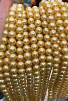 """35"""" AAA natural South Sea Cultured Pearl 9-10mm Necklace 14K YELLOW Gold clasp"""