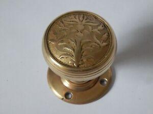 Reclaimed Antique Vintage Ornate Brass Round Door Knob Handle Pull #1582
