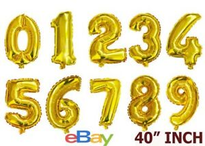 """40"""" GOLD Number Age Balloons Giant Foil Happy Birthday Party Decorations 0-9"""