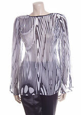 New Size Small S Sisters Point Sheer Blouse Top Black & White Long Sleeve 8 10
