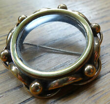 antique Victorian gold plate glass photo locket mourning brooch c pin C423