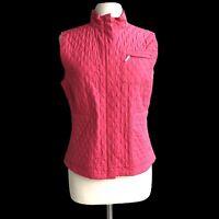 TALBOTS Women's Size M Pink Quilted Zip Front Vest Jacket