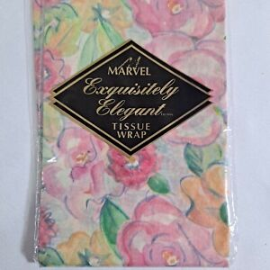 "Vintage Marvel Tissue Paper 20"" x 30"" Decoupage Crafts 5 Sheets Pink Flowers"