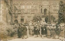 Germany Heidelberg. Group of ladies outside the Ottheinrich building.  QR725