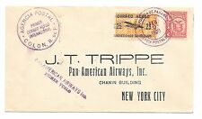 F5-2b / L45 Panama - USA Outlaw Airmail First Flight Cover C1 Double Surcharge