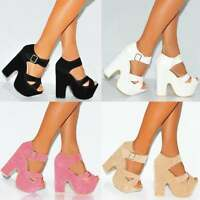 STRAPPY SANDALS PEEP TOE WEDGES BLOCK PLATFORMS HIGH HEELS SHOES SIZES 3-8