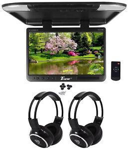 "Tview T257IR-BK 25"" Black Flip Down Wide Screen  Car Monitor+2 Wireless Headsets"