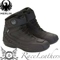 MERLIN  STREET WP BLACK WATERPROOF SHORT LEATHER MOTORCYCLE MOTORBIKE BIKE BOOTS
