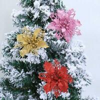 Glitter Christmas Flower Tree Hanging Ornaments Festival Xmas Home Party Decor