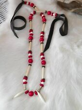 Native American Coyote Tooth Canine Bone Necklace Silver Turquoise Beads Regalia