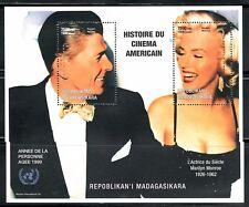 SELLOS TEMA CINE MADAGASCAR 1999 MARILYN MONROE Y RONALD REAGAN 2v. HOJA BLOQUE