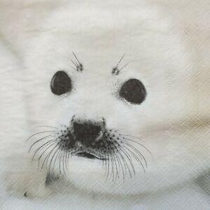 4 Paper Napkins Serviettes Decoupage Napkins Baby Seal, Scrapbooking Paper...