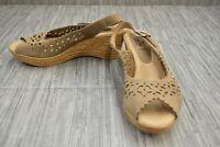 Spring Step Chaya Wedge Slingback Sandal, Women's Size 9.5-10/EU 41, Beige NEW