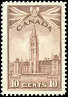 Mint Canada Scott #257 F-VF 1942 10c King George VI War Issue Never Hinged