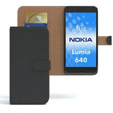 Tasche f. Nokia / Microsoft Lumia 640 Dual Sim Case Wallet Schutz Hülle Schwarz