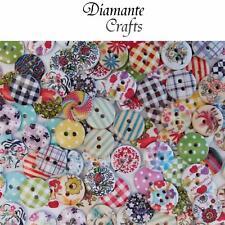 100 15mm WOODEN BUTTONS - Random Mix - Craft Card Sewing Scrapbook - Design 1